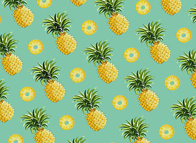 Food And Beverage Drawing - Set Of Pineapples by Vitor Costa