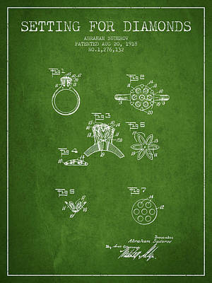 Setting For Diamonds Patent From 1918 - Green Print by Aged Pixel