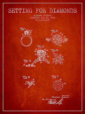 Cut Mixed Media - Setting For Diamonds Patent From 1918 - Red by Aged Pixel