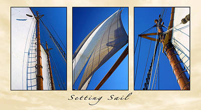 Manipulation Photograph - Setting Sail Triptych by Bill Caldwell -        ABeautifulSky Photography