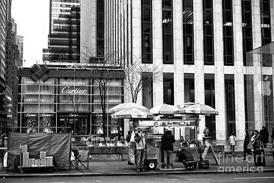 Hot Dog Stands Photograph - Setting Up On 5th Avenue by John Rizzuto