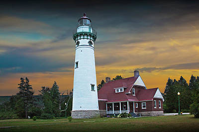 Seul Choix Point Fog Signal Building At Sunset Print by Randall Nyhof