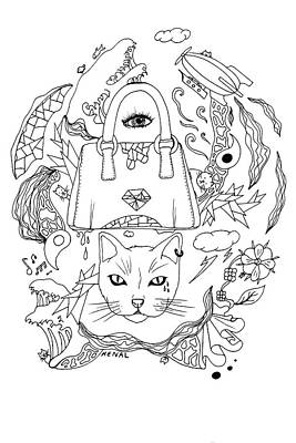 Seven Cats In Tokyo Contour Print by Kenal Louis