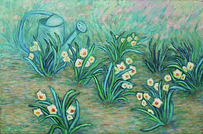 Painting - Seven Daffodils by Xueling Zou