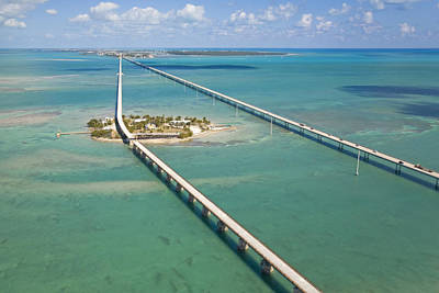Aerial Photograph - Seven Mile Bridge Crossing Pigeon Key by Mike Theiss