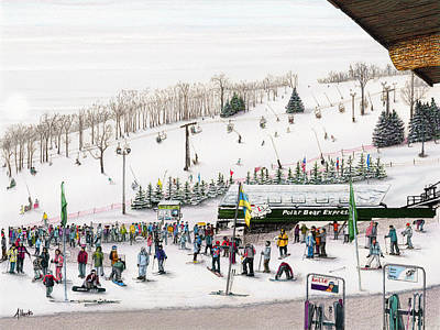 People Drawing - Seven Springs Stowe Slope by Albert Puskaric