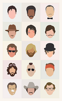 Minimalist Digital Art - Seventies Movie Dudes by Mitch Frey