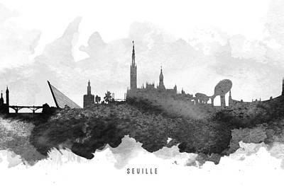 Towns Digital Art - Seville Cityscape 11 by Aged Pixel