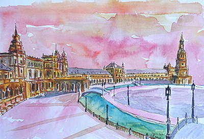 Seville Spain Plaza Espana At Sunset Print by M Bleichner