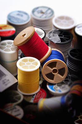 Sewing Equipment - Spools Of Thread Print by Donald Erickson