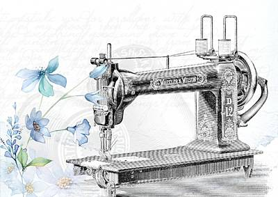 Sewing Machine Poster Print by FL collection