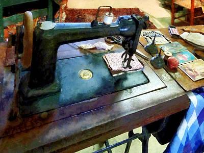 Pincushion Photograph - Sewing Machine With Sissors by Susan Savad