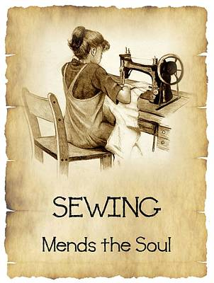 Drawing - Sewing Mends The Sould by Joyce Geleynse
