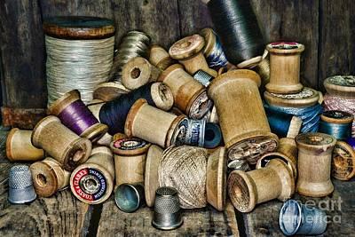 Sewing - Vintage Sewing Spools Print by Paul Ward