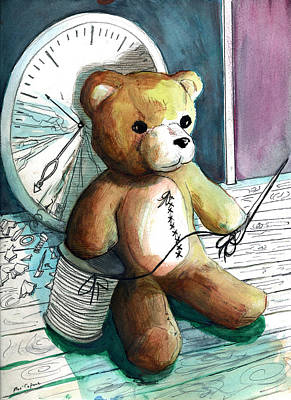 Sewn Up Teddy Bear Print by Rene Capone