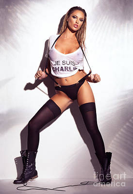 Sexy Woman In Wet Je Suis Charlie Shirt Underwear Stockings And  Print by Oleksiy Maksymenko