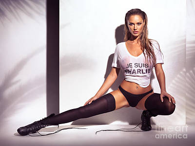 Sexy Young Woman In Wet Je Suis Charlie Shirt And Underwear Print by Oleksiy Maksymenko
