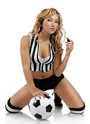 Sexy Young Woman With A Soccer Ball Print by Oleksiy Maksymenko