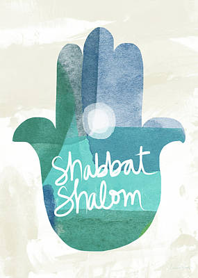 Shabbat Shalom Hamsa- Art By Linda Woods Print by Linda Woods