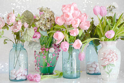Pink Tulips Photograph - Shabby Chic Cottage Ball Jars And Tulips Floral Photography - Mason Ball Jars Floral Photography by Kathy Fornal