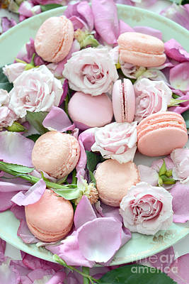 Dreamy Food Photograph - Shabby Chic French Pastel Pink Macarons Pink Roses Romantic Roses Macarons by Kathy Fornal