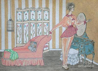 Shabby Chic -- Art Deco Interior W/ Fashion Figure Original by Jayne Somogy