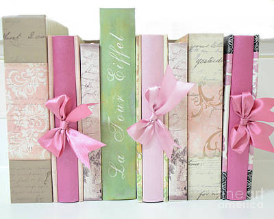 Shabby Chic Pink Pastel Books Collection - Shabby Chic Paris Cottage Chic Pink Books Ribbons  Print by Kathy Fornal