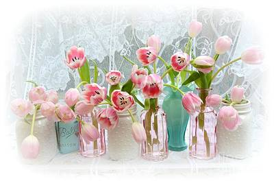Pink Tulips Photograph - Shabby Chic Pink Tulips - Romantic Cottage Pink Aqua White Tulips Mason Jars by Kathy Fornal