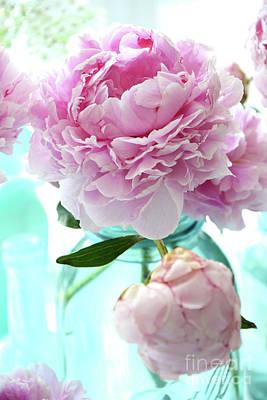 Shabby Chic Romantic Pink Peonies Aqua Mason Ball Jars - Cottage Summer Garden Peonies Decor Print by Kathy Fornal