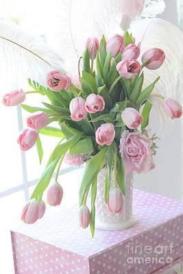 Pink Tulips Photograph - Shabby Chic Romantic Pink Tulips In Vase - Dreamy Cottage Pastel Pink Tulips  by Kathy Fornal