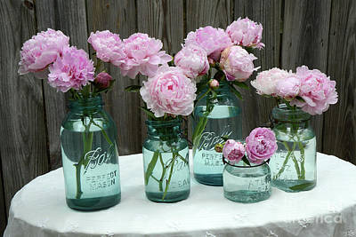 Shabby Cottage Pink Peonies In Aqua Blue Mason Ball Jars - Summer Garden Pink Peonies Decor Print by Kathy Fornal