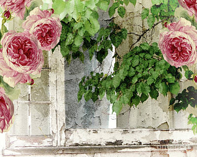 Shabby Cottage Window Print by Mindy Sommers