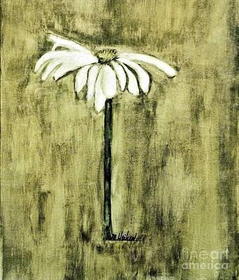 Shades Of Green Daisy Print by Marsha Heiken