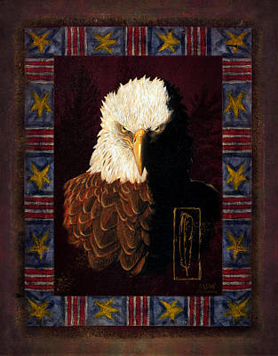 Usa Flag Painting - Shadow Eagle by JQ Licensing