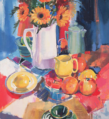 Marigolds Painting - Shadow Line by Peter Graham
