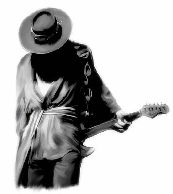 Stevie Ray Vaughan Drawing - Shadowing Soul Vii Stevie Ray Vaughan  by Iconic Images Art Gallery David Pucciarelli