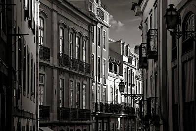 Bnw Photograph - Shadowy Old Lisbon by Carol Japp
