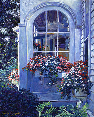 Boxes Painting - Shady Window Boxes by David Lloyd Glover