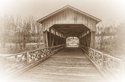 Campbells Covered Bridge Photograph - Shaeffer Campbell Covered Bridge Ohio In Sepia by Ina Kratzsch