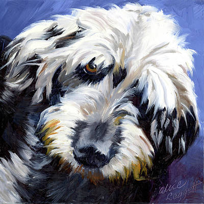 Shaggy Dog Portrait Print by Alice Leggett