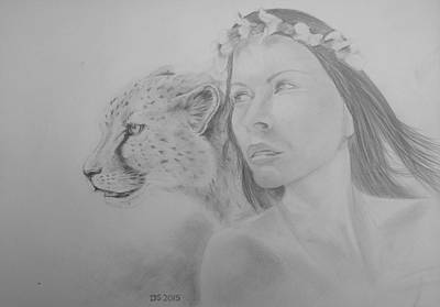 Cheetah Drawing - Shaholly And Friend by Duncan Sawyer