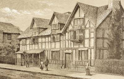Stratford Drawing - Shakespeare S Birthplace In by Vintage Design Pics