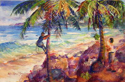 Decoraci Painting - Shaking Down Coconuts by Estela Robles