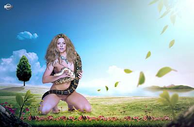 Shakira Digital Art - Shakira Mebarak by Nestor Navarro