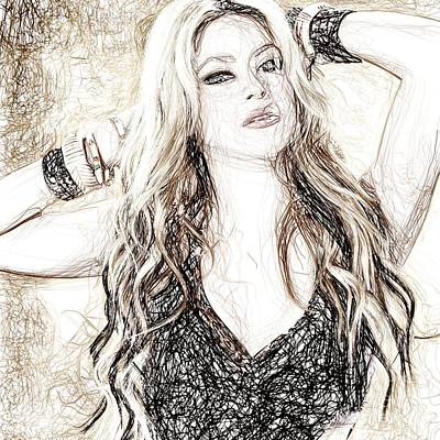 Shakira Drawing - Shakira - Pencil Art by Raina Shah