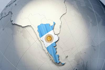 Shape And Ensign Of Argentina On A Globe Print by Dieter Spannknebel