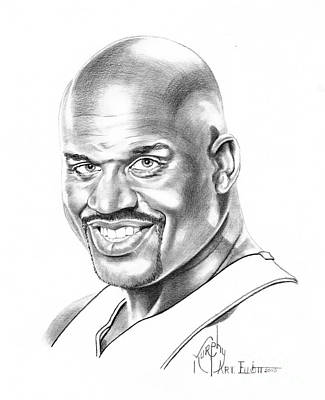 Shaquille Drawing - Shaquille O'neal by Murphy Elliott