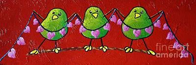 Limbbirds Painting - Share The Love by LimbBirds Whimsical Birds