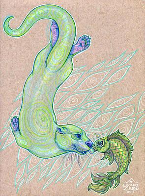 Otter Mixed Media - Shared Breath by Franki Zinke