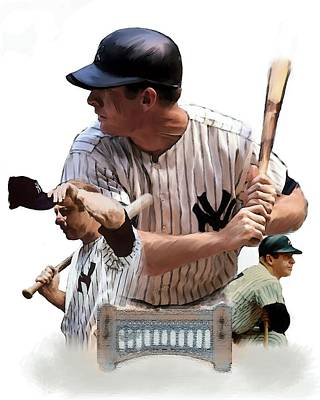 Mickey Mantle Drawing - Shared Legacy Mickey Mantle by Iconic Images Art Gallery David Pucciarelli